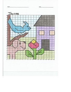 Quadrant 1 Coordinate Graph Mystery Picture, Jaycee Blue B