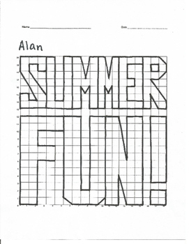 Quadrant 1 Coordinate Graph Mystery Picture, Alan Summer Fun