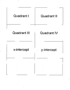 Quadrants and Ordered Pairs Matching Activity