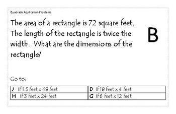 Quadratic Application Problems Carousel