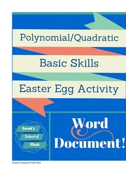 Polynomial/Quadratic Basics Easter Egg Station Activity-word document!