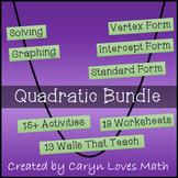 Quadratic Bundle-15 Activities-Plus Walls that Teach-19 Worksheets-Graphing