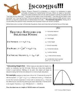 Quadratic Catapult -- Physics & Algebra STEM - 21st Century Math Project