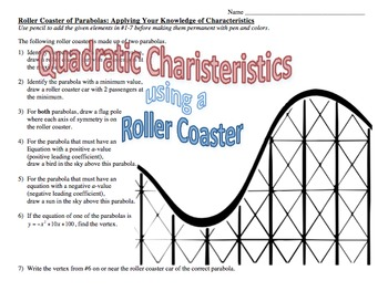 quadratic characteristics activity roller coaster of parabolas tpt. Black Bedroom Furniture Sets. Home Design Ideas