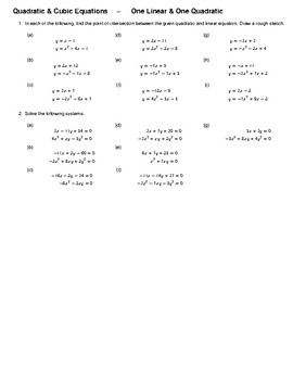 Quadratic & Cubic Equations – One Linear & One Quadratic