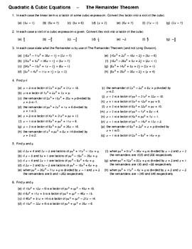 Quadratic & Cubic Equations – The Remainder Theorem