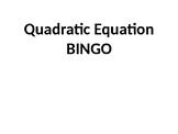 Quadratic Equation BINGO