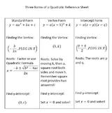 Quadratic Equation (Forms) Reference Sheet