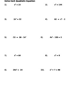 Quadratic Equation Notes and Assignments
