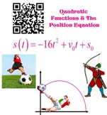 Quadratic Equation - Position Equation Real World App with QR Code