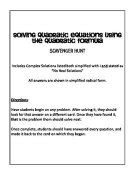 Quadratic Equation Scavenger Hunt