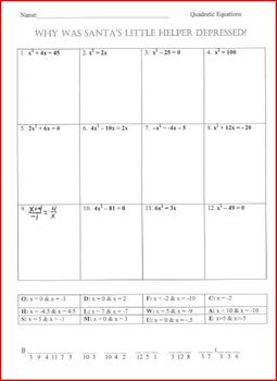 Quadratic Equation Worksheet -Christmas Riddle