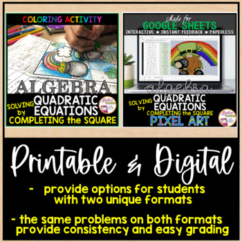 Solving Quadratic Equations by Completing the Square Coloring Activity