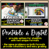 Solving Quadratic Equations by Completing the Square Color