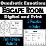 Solving Quadratic Equations Activity: Algebra Escape Room Math