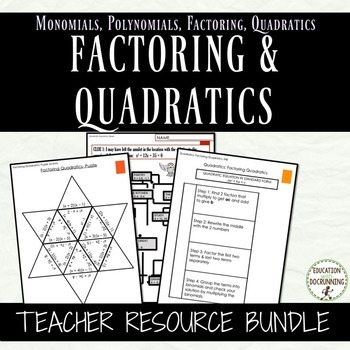 Factoring and Quadratic Equations Notes Activities and Pro