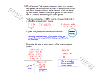 Quadratic Equations: Area Word Problems Lesson 2 of 2