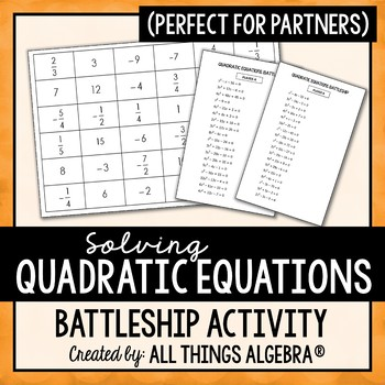 Quadratic Equations Battleship Partner Activity