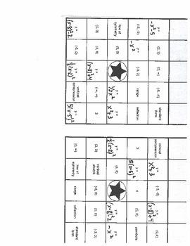Quadratic Equations Bingo