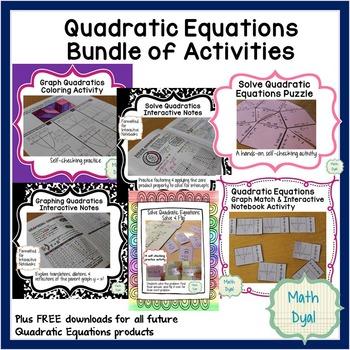 Quadratic Equations Bundle of Activities
