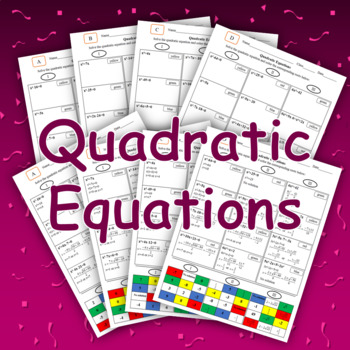 Quadratic Equations Color Mosaic