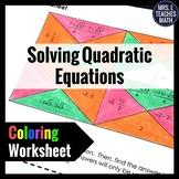 Quadratic Equations Coloring Worksheet