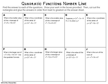 Quadratic Equations Cut and Paste Activity