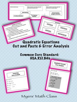 Quadratic Equations Cut and Paste & Error Analysis **EDITABLE**