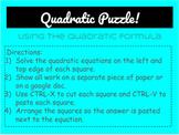 Quadratic Equations Digital Puzzle