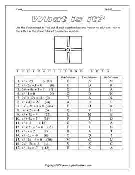 Quadratic Equations (Discriminants) Worksheet