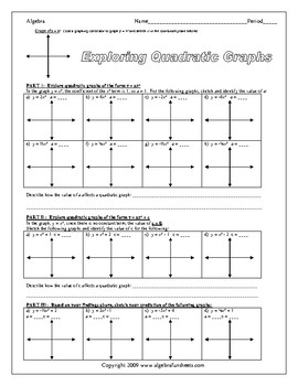 Graphing Quadratic Equations (Introductory) Worksheet