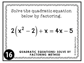 Quadratic Equations Task Cards {Solving by Factoring Method}