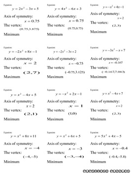 Quadratic Equations Flash Cards - PP