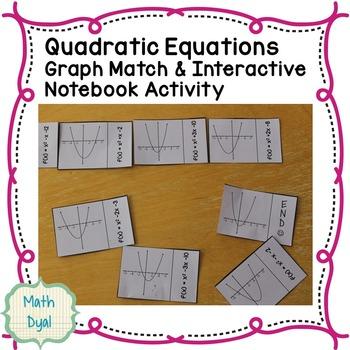 Quadratic Equations Graph Match Dominoes & Interactive Notebook Activity