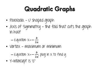 Quadratic Equations Graphic Organizer