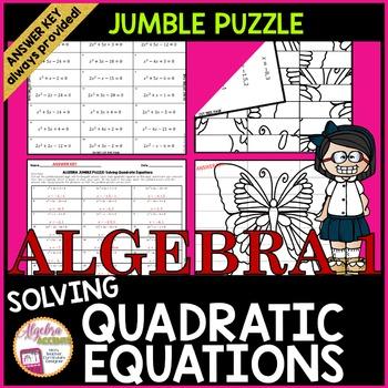 Solving Quadratic Equations: JUMBLE Puzzle