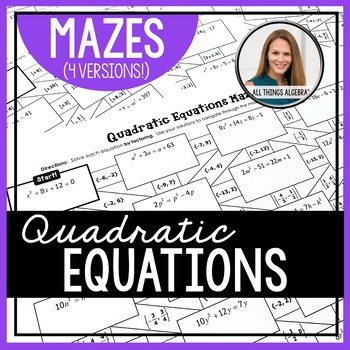 Quadratic Equations Mazes (Rational and Irrational Solutions)