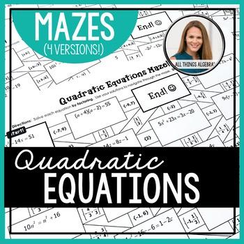 Solving Quadratic Equations Mazes (Rational, Irrational, and Complex Solutions)