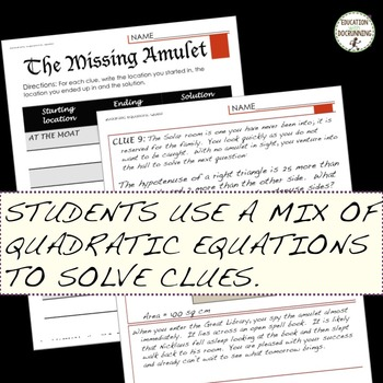 Quadratic Equations Quest - Mixed Practice and Review Activity