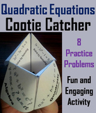 Solving Quadratic Equations Review Activity 7th 8th 9th 10th Grade