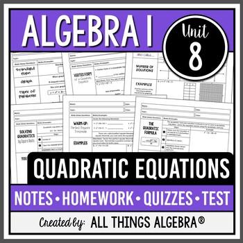 quadratic equations algebra 1 unit 8 by all things algebra tpt. Black Bedroom Furniture Sets. Home Design Ideas