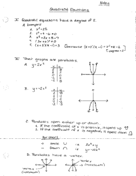 Quadratic Equations Notes and Worksheet