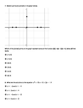Quadratic Equations --PARCC style questions