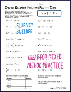 Quadratic Equations Practice Guide