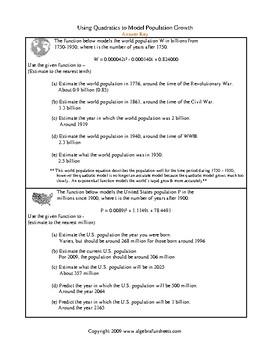 Quadratic Equations Applications (World Population) Worksheet