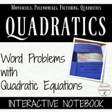 Quadratic Equations Word Problems COLOR Notebook UPDATED
