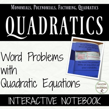 Quadratic Equations Word Problems Foldable Interactive Notebooks