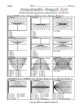Graphing Quadratic Equations (Quadratic Graph Art) Worksheet