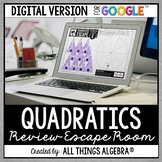 Quadratic Equations Review Escape Activity: DIGITAL VERSIO