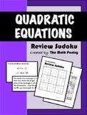 Quadratic Equations - Review Sudoku